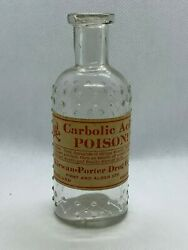 Clear Lattice Kc-1 Glass Poison Bottle With Label - 4 And 3/8 - Carbolic Acid