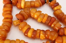 Ancient African - Mali - Natural And Rare Amber Bead Necklace - Extraordinary