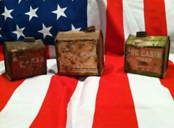 3 Antique Tin Canisters Towle's Log Cabin Syrup Collectibles Very Rustic Vintage