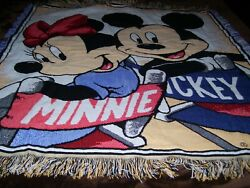 Disney Mickey Mouse Minnie Woven Tapestry Throw Blanket Fringe 58andrdquox 53 Vintage