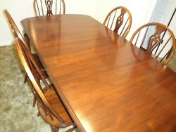Vintage Pennsylvania House Solid Cherry Dining Table W/6 Chairs, Late 1970s