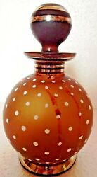 Cairo Egyptian Perfume Glass Bottle Shimy Signed Vintage Dotted Collectible 2