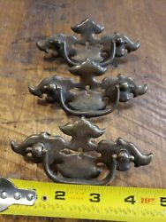 3 Vintage Brass Batwing Chest Of Drawers Pulls Handles, Center Cut Out