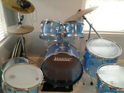 1970and039s Ludwig Vistalite Drum Kit/ Stands/throne Seat/vintage/original/blue-clear
