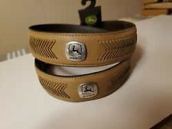 New John Deere Leather Belt Braided Conchos Removable Buckle Size 38 Brown  $12.99