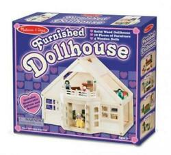 Melissa & Doug - Fully Furnished Solid Wood Dollhouse 18 Pieces Furniture 4 Doll