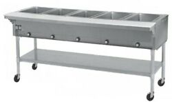 Eagle Group Spdht5 5-well Mobile Electric Hot Food Table W/ S/s Shelf And Legs