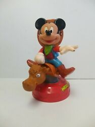 Disney Arco Toys Wind Up Rodeo Cowboy Mickey Mouse Riding A Bull