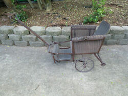 Vintage Antique Brown Wicker Two Large Wheel Baby Doll Buggy Stroller Carriage