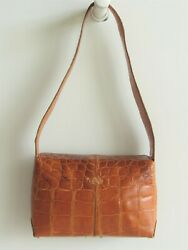 AUTHENTIC TOD'S  REAL ALLIGATOR CARAMEL TAN CLASSIC DESIGN SHOULDER BAG IN EUC $1,995.00