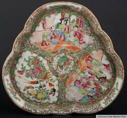 China 19. Jh Qing - A Chinese Trefoil Canton Porcelain Dish - Chinois Cinese