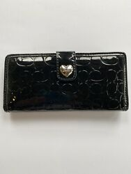 COACH Black Patent Leather Signature Monogrammed Wallet NWT SHINY DESIGNER CARDS