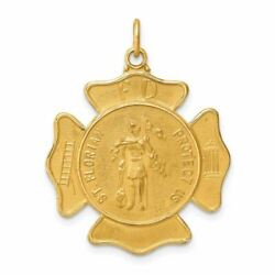 14k Yellow Gold Solid Satin St. Florian Fire Dept. Badge Medal Charm Pendant