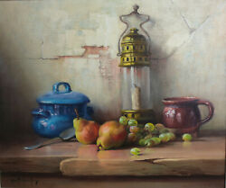 Robert Chailloux 1913 - 2005 Oil Painting On Canvas Still Life With Lantern