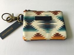 New Pendleton Designer Aztec Zipper Pouch Card Holder Wallet With Clip Key Ring