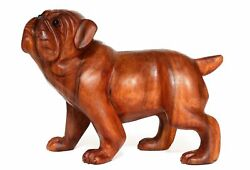 8quot; Wooden Hand Carved English Bulldog Statue Figurine Sculpture Wood Dog Gift
