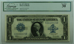1923 One Dollar Silver Certificate Large Note 1 Fr. 237 Legacy Vf-30 Better B