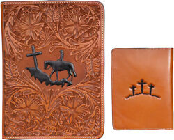 3d Natural Leather Bible Cover Praying Cowboy 3 Crosses 7.75x10.25x2