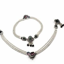 Indian Style Silver Pajeb / Payal / Anklet Pair With Meena And Bells -traditional