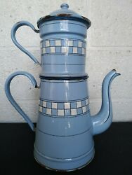Antique French Enamelware Enameled Coffee Pot Checkered 14 3/4