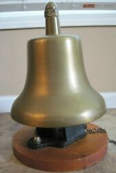 Antique Wood Mounted Brass Train Locomotive Bell Approx. 57 Lbs. Vguc
