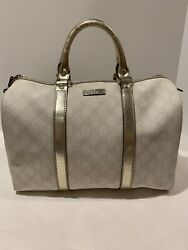 Gucci Joy Boston Ivory Pewter Bag Satchel $995.00