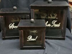 Morgue Sale Halloween Vintage Look Glass Candy Counter Displays Set/3 Retired