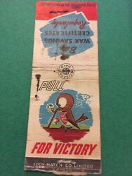 Vintage Matchbook, Pull For Victory Buy War Savings Certificates, No Matches Mb5