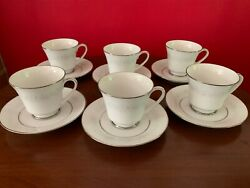 6 Noritake Cumberland Cup And Saucer Sets Coffee Tea 2225 Platinum Excellent Cond