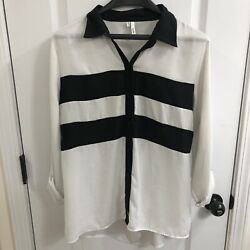 Studio Y Womens Long Sleeve Button Striped Open Back White & Black Blouse Large