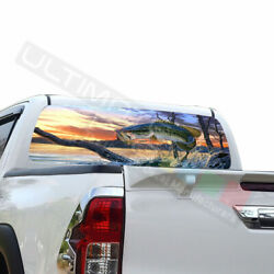 Fishing Window See Thru Stickers Perforated For Toyota Hilux 2016 2017 2018 2019