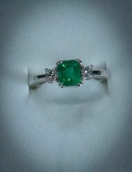 1 Carat Fine Colombian Emerald 14k White Gold And Diamonds Ring 01