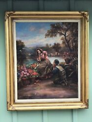 Large Oil/canvas In Need Of Tlc Great Fame Signed Dated 1941