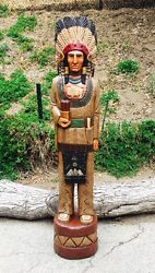 John Gallagher Carved Wooden Cigar Store Indian 4 Ft. Buffalo Knife Moon