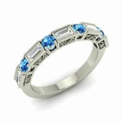 0.89 Carat Natural Blue Topaz And Vs Diamond Wedding Band Ring In 14k White Gold