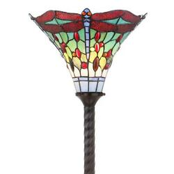 -style Torchiere Floor Lamp Dragonfly Red Green Jewels Stained Glass 71