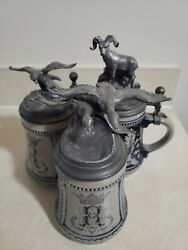 Michael Ricker Beer Stein Collection. Geese Flying Rams Climb And Eagle...
