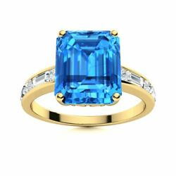 3.41 Ct Natural Vs Diamond Aaa Blue Topaz Ring 14k Solid Yellow Gold Womenand039s