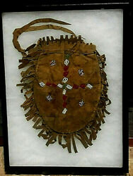 1880's Plains Indian Leather Beaded Medicine Pouch
