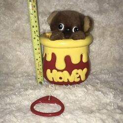 Vintage Early Learning Centre Musical Honey Bear Pull Cord Moving Toy 1985 Elc