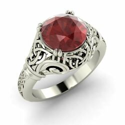 Solid 14k White Gold Solitaire Antique Vintage Look Ring With Certified Garnet