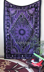 Twin Psychedelic Tapestry Celestial Sun and Moon Small Tapestries Indian Throw