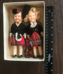 """2 Vintage Mini Porcelain Bisque Jointed Dolls Apx 7"""" Tall """"clan"""" German/european"""