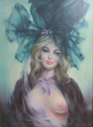 Oil Painting On Masonite Board, Nude Woman In Hat, Mid Century, Signed