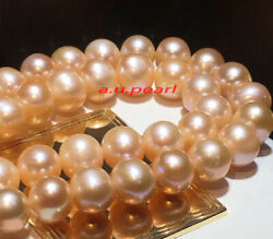 Long Aaaaa 3515-12mm Real Natural South Sea Gold Pink Pearl Necklace 14k Gold
