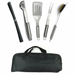 Bbq Tools Barbecue Grill Tool Set Kit 5 Pcs Stainless Steel With Storage Bag