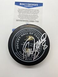Signed Official Nhl Game Puck Anaheim Ducks Teemu Selanne Hall Of Fame 100 Bas