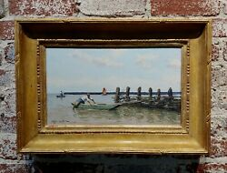 Christian Couillaud Early Morning Fisherman 1930s South Of France -oil Painting