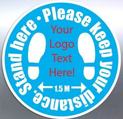 Stand Here Floor Sticker Custom To Logo Words Text Decal Safe 1.5 Meters Design