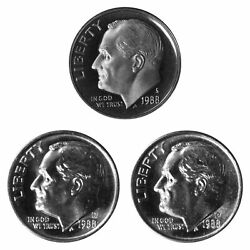 1988 P D S Roosevelt Dime 10c Year Set Proof And Bu Us 3 Coin Lot